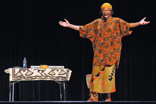 """Santemu performs African folk tales during the Tuesday Theater for Kids at the Rialto Theater in downtown Loveland. Santemu played music and told tales of Anansi the Spider and Uncle Remus which taught life lessons to those in attendance. The next performance in the series is scheduled for July 26 and will feature Poet of Motion Peter Davison. For more information visit  <a href=""""http://www.cityofloveland.org/rialto"""">http://www.cityofloveland.org/rialto</a> or call 962-2120."""