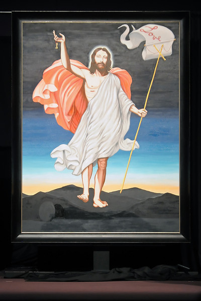 A 5-foot-by-7-foot portrait of Jesus Christ by artist Enrique Chagoya is displayed onstage at Resurrection Fellowship, 6502 E. Crossroads Blvd., in Loveland, Colo. after being unveiled during a service June 18, 2011.