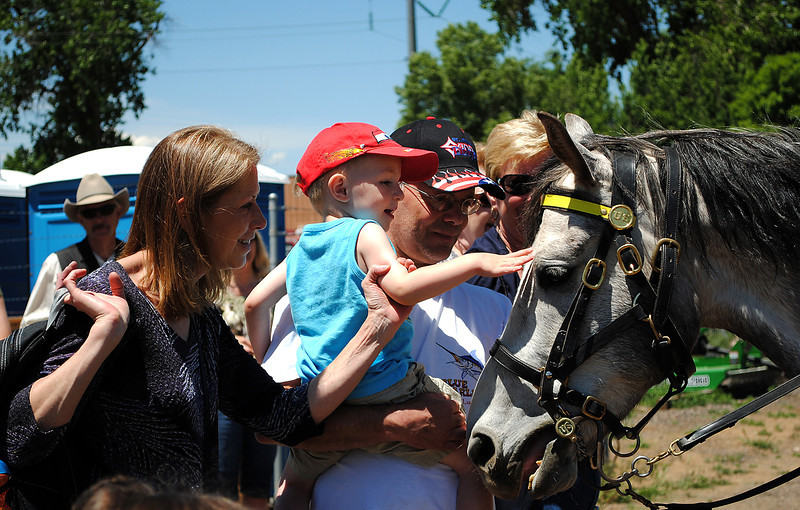 Karla, left, and Vince Sprague hold up their grandson, Cheyne Sprague, two, so he can pet a horse after the Buffalo Soldiers horseback riding demonstration, at The Rocky Mountain Rivalry, that took place at the Timberlane Farm Museum on Sunday June 2, 2013.