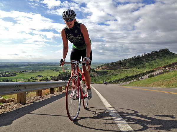 Katie Guiffre of Fort Collins rides up Horsetooth Reservoir on one of her last training rides before Ride the Rockies this weekend. Guiffre is one of 2,000 riders who will cover 515 miles in seven days.