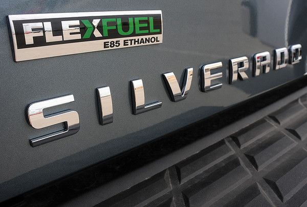 The rear badge on a 2010 Chevrolet Silverado pickup with the Flexfuel option to allow use of E-85 ethanol fuel is available at Davidson-Gebhardt Auto Group, 3880 Test Circle in Loveland.