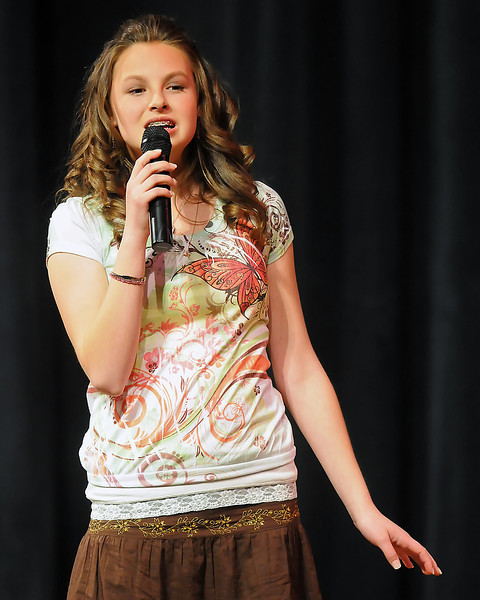 "Kelly Parrish sings ""Thank You For The Music"" during the 49th Annual Stars of Tomorrow Show on Saturday, March 20, 2010 at Roberta L. Price Auditorium at Thompson Valley High School."