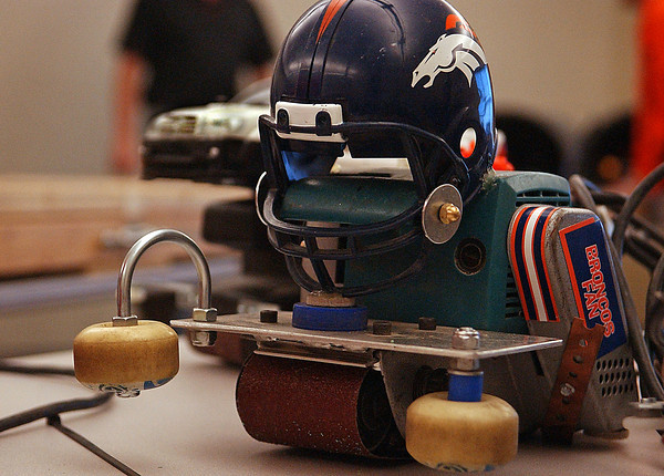 A broncos fan overflows love of the team into their own sport: sand belt racing.  This is one of many seen Mar 6 at the competition hosted by The Northern Colorado Homebuilders Association.
