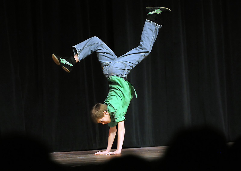 "Twelve-year-old Weston Kleeman performs a hip hop dance solo called ""Joy in the Dance"" during the Stars of Tomorrow on Saturday, March 12, 2011 at Thompson Valley High School's Roberta L. Price Auditorium."