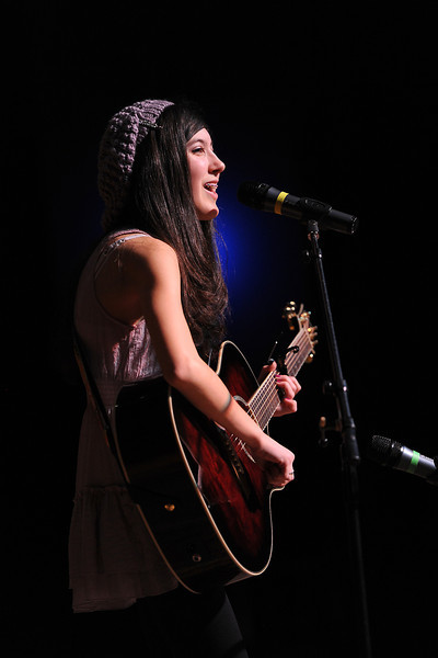 "Loveland resident Daylene Torres performs the song ""I'm Yours"" by Jason Mraz during rehearsals for the Stars of Tomorrow on Saturday afternoon at Thompson Valley High School's Roberta Price Auditorium."
