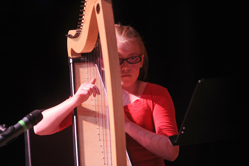 "Twelve-year-old Mikayla Wilson plays the song ""Gypsey Moth"" on her harp during rehearsals for the Stars of Tomorrow on Saturday afternoon at Thompson Valley High School's Roberta Price Auditorium."
