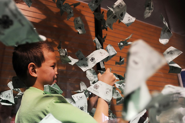 Jacob Hergenreter, 9, grasps at flying bills as they swirl around him in the Friendly Few 4-H Club's Money Machine game during the 4-H Carnival on Saturday, March 17, 2012 at The Ranch.