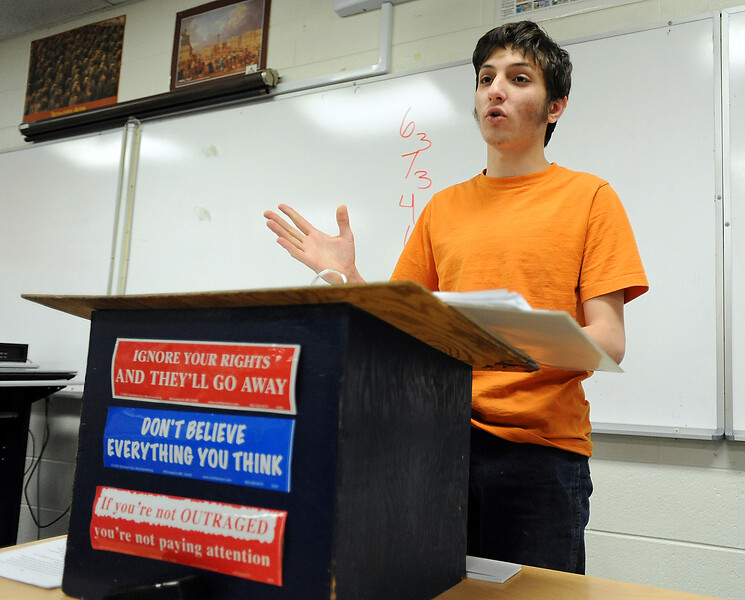 Mountain View High School senior Aaron Chesler practices the speech Thursday that he will give at a mock senate at the National Forensics competition in June. Photo by Jenny Sparks