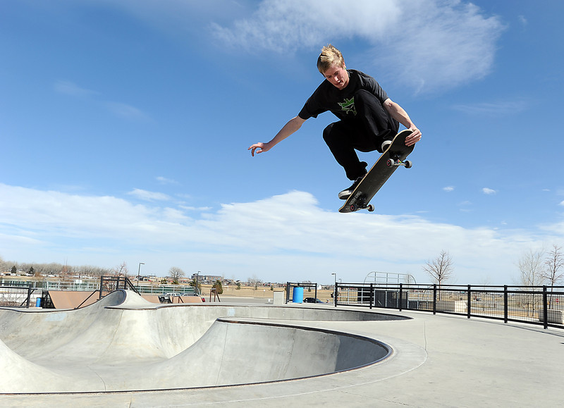 Ian Vap of Loveland, 18, catches some air while skateboarding at the Loveland Sports Park Tuesday afternoon. Photo by Jenny Sparks