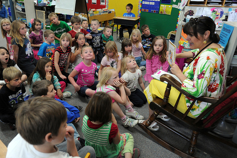 "Carrie Martin Elementary School counselor Bobbi Schmitt teaches a classroom guidance lesson on the word ""humanity"" to first-graders in Cory Cunningham's class on Thursday, March 22, 2012."