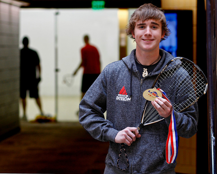 U.S. National High School Boys Singles Racquetball champion Nick Riffel poses with his gold medal at the Chilson Recreation Center Monday afternoon in Loveland, Colo.