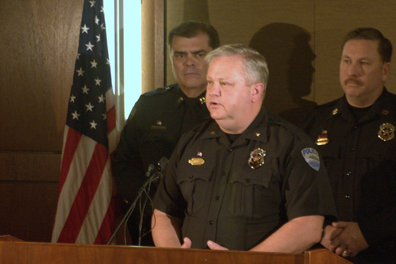 17RHABRO.jpg Fort Collins Police Chief John Hutto addresses the media Saturday regarding the resignation of Lt. Jim Broderick.