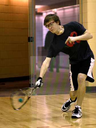 U.S. National High School Racquetball Boys Singles champion Nick Riffel demonstrates a serve Monday afternoon at the Chilson Recreation Center in Loveland, Colo.