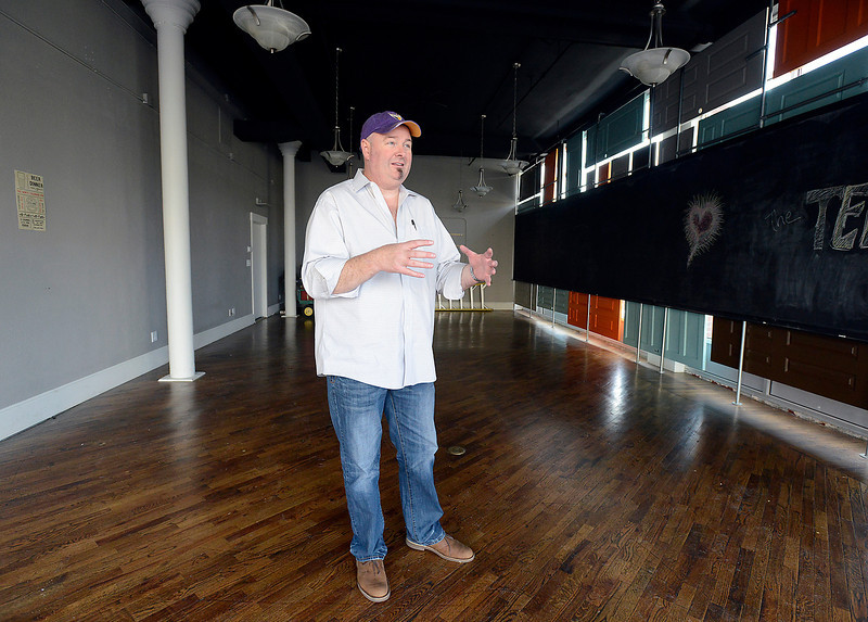 Clay Caldwell, owner of mo' Betta Gumbo at 141 E. Fourth St., talks about his plans to open a new ice cream shop with a mad scientist twist where ice cream is made with liquid nitrogen, as he stands Friday in the location where he plans to open the shop in early summer. The location of the ice cream shop, 202 E. Fourth Street, is caddy corner accros the street from mo' Betta Gumbo.