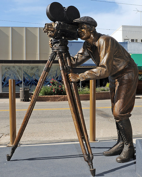 "Pat Kennedy's sculpture titled ""Persistence of Vision"" in front of the Rialto Theater in downtown Loveland in memory of Reporter-Herald entertainment reporter Phyllis Walbye."