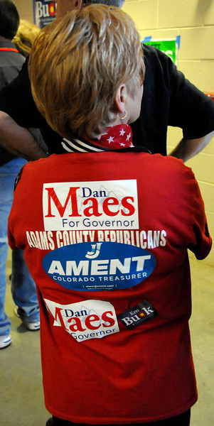 Ellen Foss displays her support for candiates during the Colorado Republican Assembly Saturday, May 22, 2010.