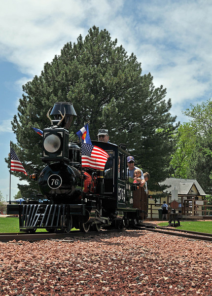 Engineer Herb Hawkins pilots The Buckhorn Northern Railroad's train, Saturday, during its grand opening and maiden run of the season around North Lake Park.