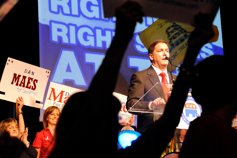 Dan Maes, a candidate for governor along with Scott Mcinnis and Yoon Joon, addresses the crowd at the Colorado Republican Assembly Saturday, May 22 ,2010.