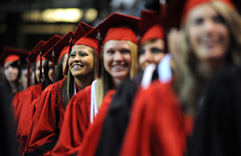 Loveland High School graduates react to a speech during the Loveland High School graduation at the Budweiser Events Center on Saturday, May 21.