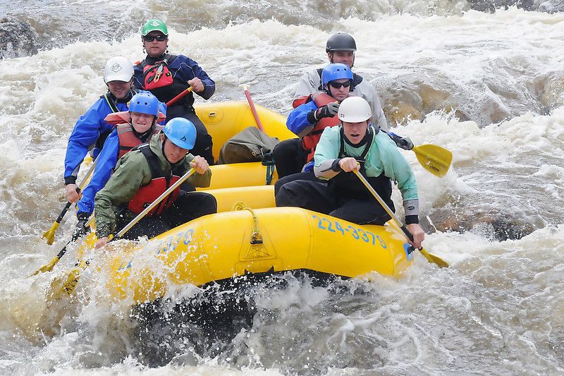 "A-1 Wildwater trip leader Brandon Katz, back left, guides a group of rafters through a section of rapids during an outing on the Poudre River on Wednesday. For information on rafting trips call 224-3379 or visit  <a href=""http://www.a1wildwater.com"">http://www.a1wildwater.com</a>"