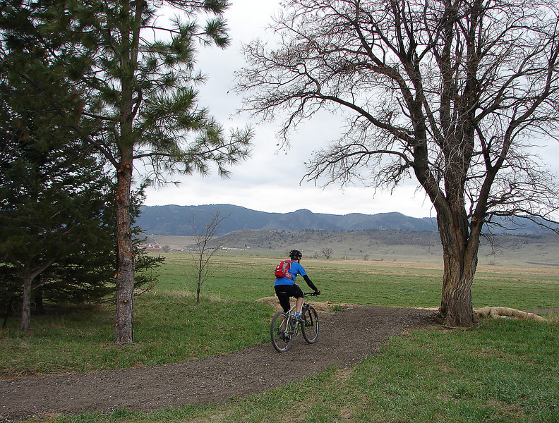 A lone mountain biker sets off Tuesday on the new Reservoir Ridge Trail, the newest addition to the extensive Fort Collins Natural Area network that provides easy access to the foothills northwest of the city.