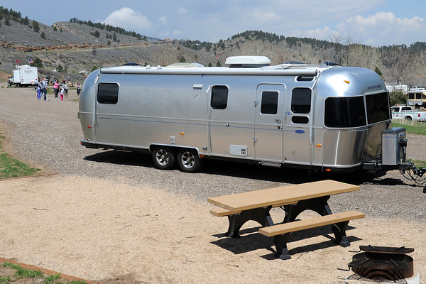 An Airstream camping trailer recently purchased by Larimer County to be used as a rental unit is parked Saturday, May 11, 2013 at Horsetooth Reservoir's Southbay Campground.
