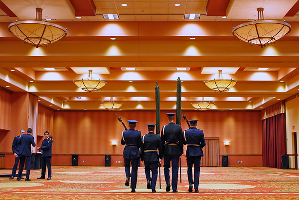 "Color Guards polish their routine in an empty room at the Embassy Suites Loveland, Sunday morning in Loveland. They will be presenting the colors during a ceremony honoring U.S. veterans, who will be flown to Washington, D.C., as part of ""Honor Flight Northern Colorado."" 122 veterans will be participating, including 25 from Loveland and Berthoud."