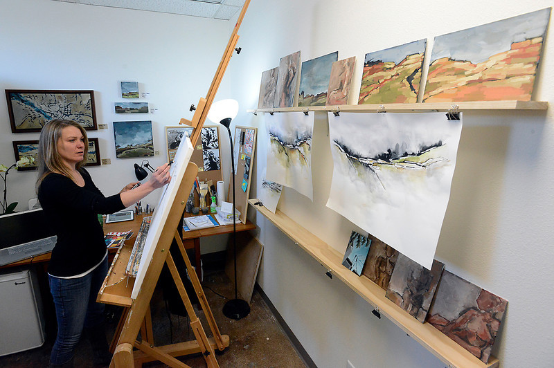 Artist Tedi Jensen sketches in her studio at Artworks Loveland on Friday, May 3, 2013 in downtown Loveland. Artworks Loveland is a non-profit where artists rent studio space and work in a community type environment.