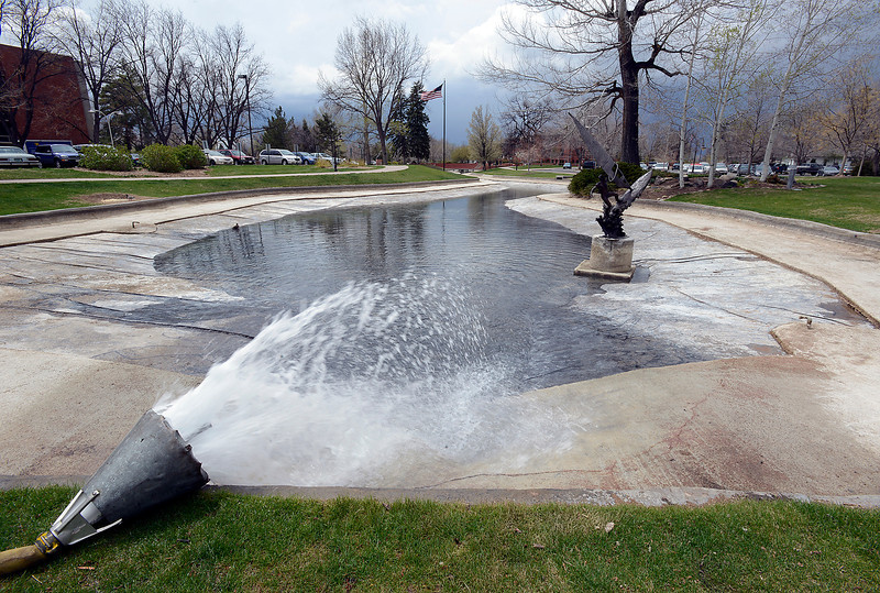 Water fills Foote Lagoon at the Civic Center in downtown Loveland on Thursday, May 9, 2013 after it was drained so crews could do some maintenance work.
