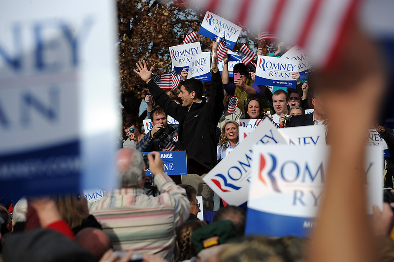 1102 NWS Ryan2-js(1).jpg Vice presidential candidate Paul Ryan gets the crowd excited as he takes the stage Thursday in Greeley at the Island Grove Event Center.
