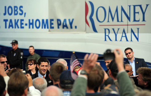 1102 NWS Ryan4-js.jpg Vice presidential candidate Paul Ryan shakes hands with supporters Thursday in Greeley at the Island Grove Event Center.