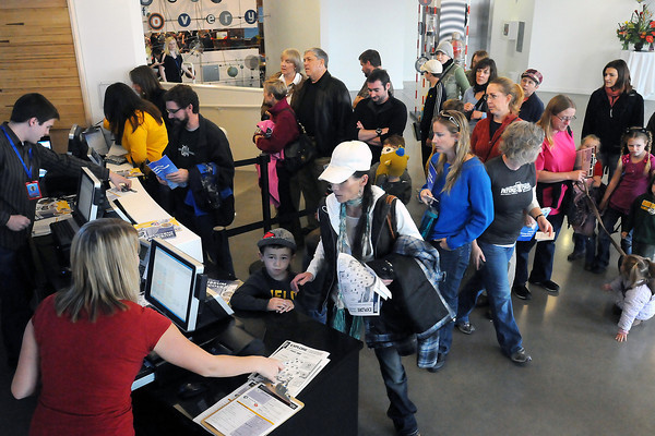 An hour after the grand opening Saturday morning of the Fort Collins Museum of Discovery, crowds still were lining up to buy tickets. (Photo by Craig Young)