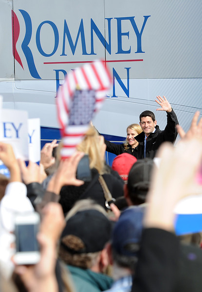 1102 NWS Ryan5-js.jpg Vice presidential candidate Paul Ryan greets supporters as he arrives Thursday at the Island Grove Event Center in Greeley.