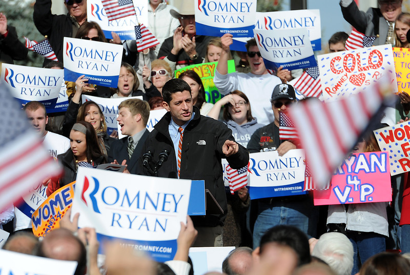 1102 NWS Ryan1-js.jpg Vice presidential candidate Paul Ryan speaks to a crowd Thursday in Greeley at the Island Grove Event Center.