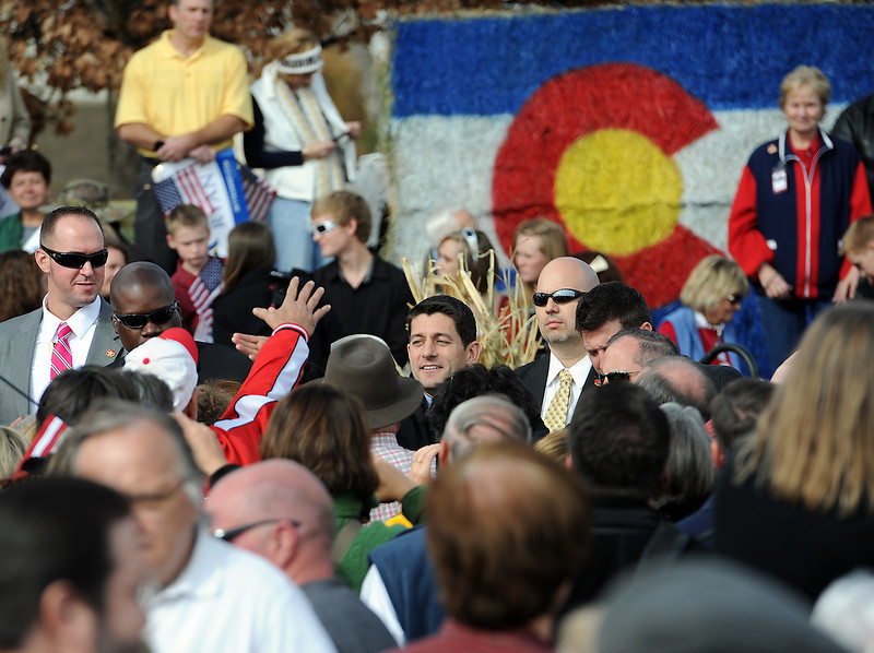 1102 NWS Ryan3-js.jpg Vice presidential candidate Paul Ryan shakes hands with supporters Thursday in Greeley at the Island Grove Event Center.