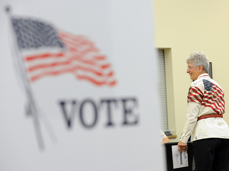 Election judge Pat Farnham sports a patriotic shirt as she helps voters Tuesday at the Loveland Police and Courts building.