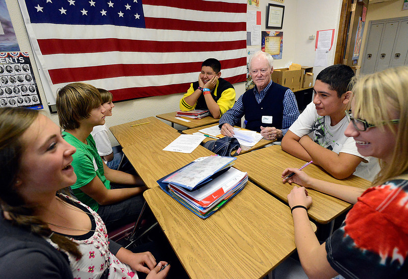 Bill Reed Middle School students work with Rotary Club member Stan Black, center right, as they learn about the 4-way test Thursday during class. Clockwise from left are Jacob Bode, 14, Jeremy Starke, 13, Gwen Altepeter, 13, Makayla Dennis, 14, Alejandro Rodriguez, 13, and Ivan Ramos, 13.