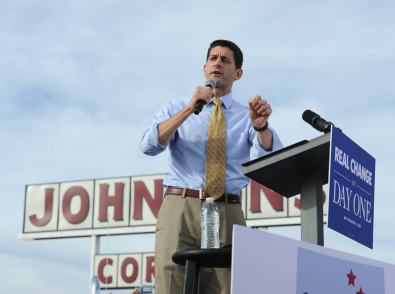 Vice presidential candidate Paul Ryan speaks to a crowd during a campaign stop at Johnson's Corner Monday in Johnstown.