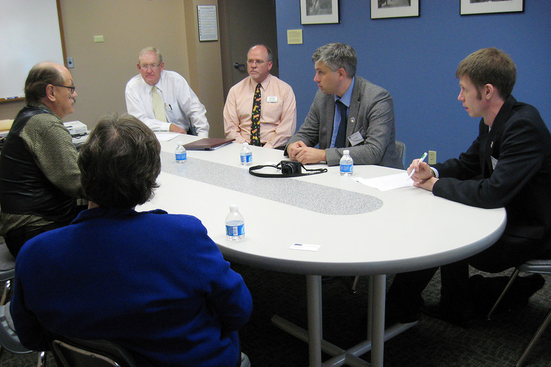 The Thompson School District took part Wednesday in hosting a delegation from eastern Russia for a conversation on energy efficiency and conservation. Clockwise from left: District Energy Resource Manager Rob Stafford, Superintendent Stan Scheer, Assistant Superintendent of Human Resources and Support Michael Jones, Aleksey Bondar, director of regional innovation for eastern Russia and Grigory Yarygin, a program facilitator for the Open World program, who acted as a translator.