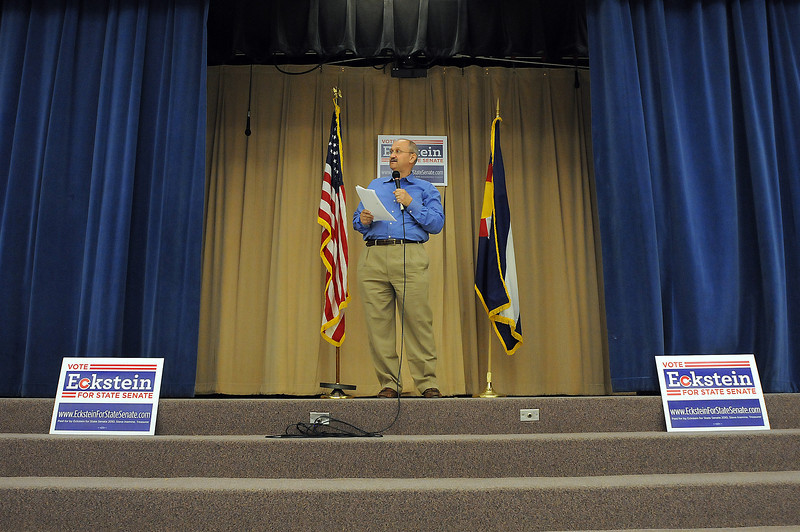 Torsten Eckstein announces his candidacy for State Senate on Sunday at Conrad Ball Middle School. Eckstein, a native of East Berlin during the height of Communism, felt drawn to the United States as a land of opportunity.