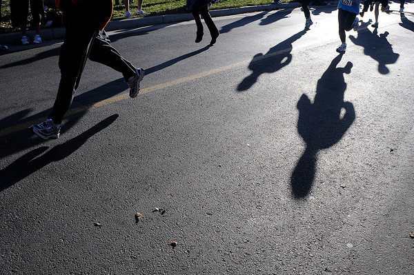 Runners hustle to the finish line on Thursday during the Loveland Turkey Trot at McKee Medical Center.