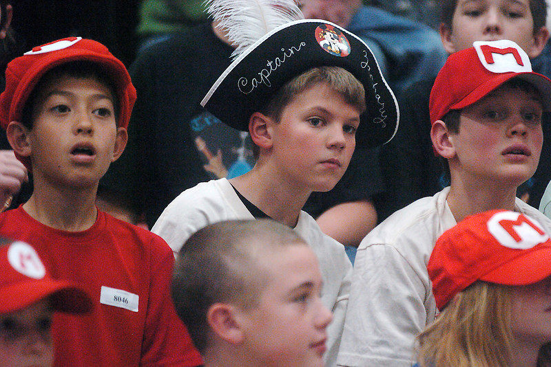 Watching a robotics demonstration Saturday afternoon during the First Lego League Competition at Berthoud High School are, from left,  Josh Stackhouse, 10, Zach Wilson, 10, and Ben Kaes, 10. Josh and Ben were teammates on the Mariochanics and Zach was a member of the Transketeers team.