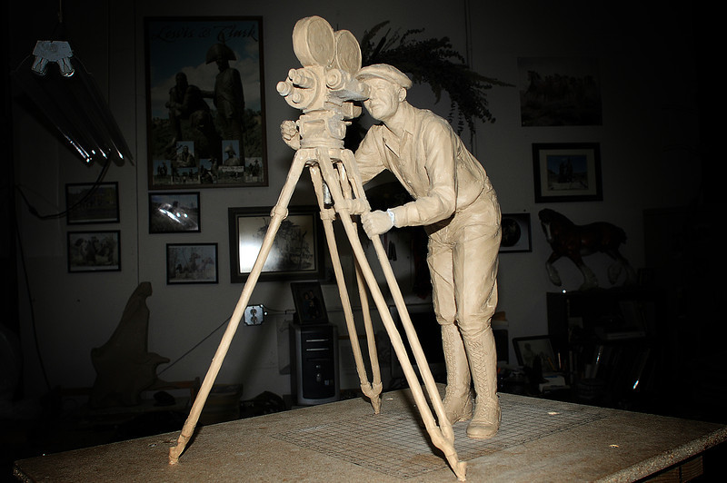 A maquette of a by Pat Kennedy sits in his studio on Wednesday. The sculpture that it will become was commissioned by the Walbye family in honor of Phyllis Walbye, longtime the entertainment editor, writer and reviewer of the Reporter-Herald's Valley Window magazine. The 6-foot-high likeness of a silent film cameraman will be dedicated in the spring.