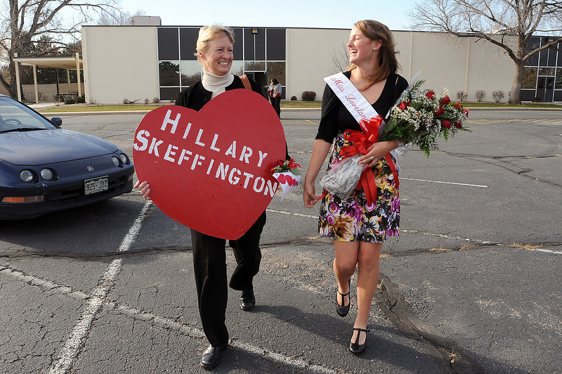 Julie Skeffington, left, and her daughter and newly crowned Miss Loveland Valentine, Hillary, walk back to the car after the judging at the former Hewlett-Packard building on Thursday.