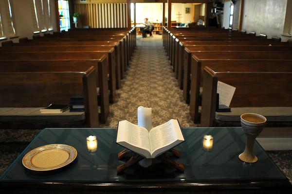 The sanctuary of First Presbyterian Church of Berthoud.