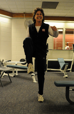 Chilson Recreation Center Wellness Coordinator Sherri Goering demonstrates a cardiovascular workout that will help people shed the pounds they gain eating holiday meals.