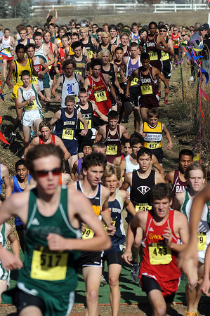 Runners take to the course during the 4A State Cross Country Championships on Saturday at Fossil Ridge High School in Fort Collins. 2A to 5A High schools from all over colorado came to participate in the race around the high school grounds.