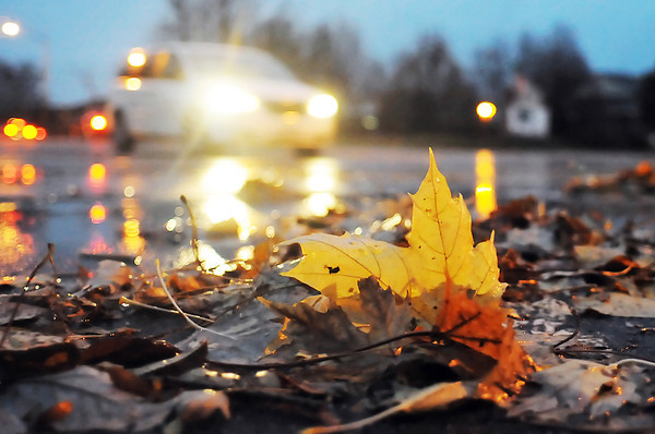 The lights from passing vehicles reflects off the rain-soaked roadway and also illuminates a pile of fallen leaves near the intersection of Boise Avenue and Axial Drive on Tuesday evening.