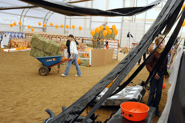 """Cyndi Stanley, left wheels bales of hay as Cathryn Fredrickson, 11, hangs cobweb decorations for a carnival in the indoor arena at Hearts and Horses on Friday. The carnival, which is from 11 a.m. to 4 p.m. on Sat. Oct. 24, will include fun for kids young and old. There will also be a haunted house that runs Oct. 16, 17, 22-24, and 29-31 from 6:30 p.m. to 11 p.m. For more information go to  <a href=""""http://www.heartsandhorses.org"""">http://www.heartsandhorses.org</a>."""