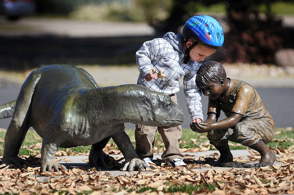 Jack Nelson, 2, of hangs out in the Benson Sculpture Garden Park on Thursday. He and his mother, Teresa Nelson, were visiting from Fort Collins. If the proposed lodging tax is passed, the City Council hopes to use the revenue to promote tourism for the city.